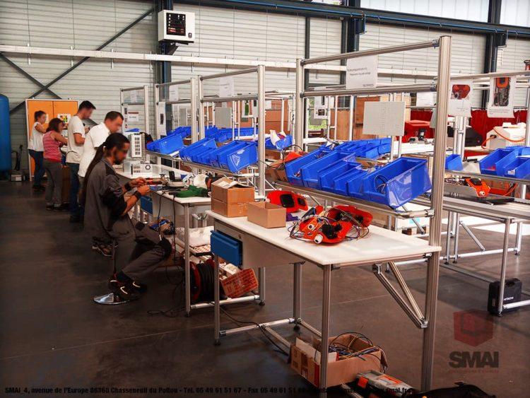 Poste de travail pour Ligne d'assemblage - LeanConcept - Convoyage + Bacs 2 - SMAI