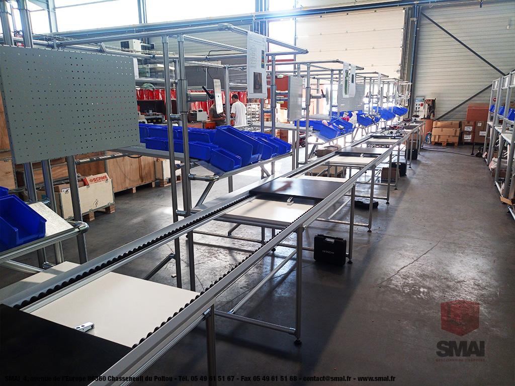 Poste de travail pour Ligne d'assemblage - LeanConcept - Convoyage + Bacs 4 - SMAI