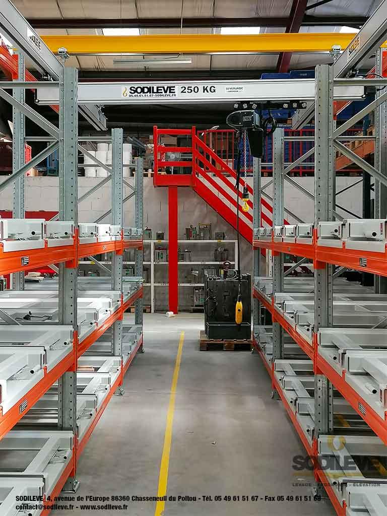 Stockage de moules d'injection - Rack à palettes + Tiroirs à palettes + Pont eurosystem et palan électrique 250 kg - 2 -SODILEVE